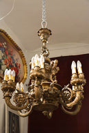 Very Rare  Bronze Chandelier  6-arm - Vintage Clock Face