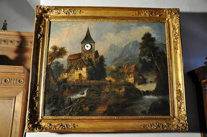 CLOCK IN TOIL PAINTING WITH CLOCK BEATING ON THE ANGEL OF THE LORD -  19th century - Vintage Clock Face