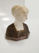 "SCULPTURE ""GIRL'S BUST"", alabaster / brown, sygn. Pauli - Vintage Clock Face"