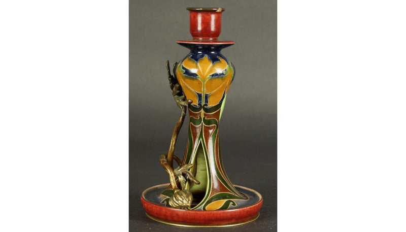 Art Nouveau Ceramics and Bronze Candelabra Majolica, circa 1900 - Vintage Clock Face