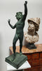 "Patinated Bronze Scuplture of "" Dancing Faun "" - Vintage Clock Face"
