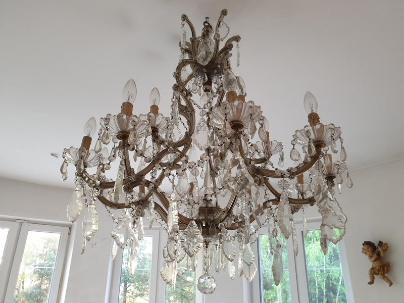 MARIE THERESA CHANDELIER - PALACE - LARGE 15-candles - Vintage Clock Face