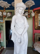 Four Seasons, White Marble Statues Suite 2.5 Meter High Set of Four - Vintage Clock Face