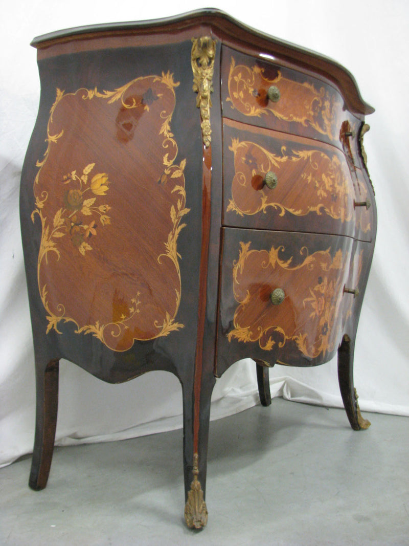 ROCOCO STYLE INTARSED CHEST OF DRAWERS - Vintage Clock Face