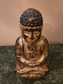 19th Century Stone Sculpture Buddha Meditating on Lotus Flower - Vintage Clock Face