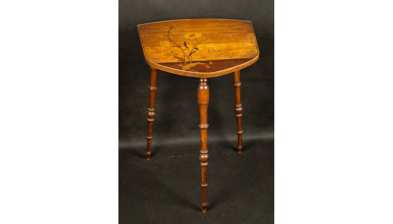 1890 Art Nouveau Inlaid Side Table with Proverb by Emile Galle - Vintage Clock Face