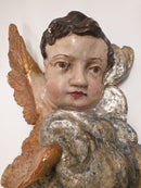 "SCULPTURE ""WINGED HEAD PUTTO ON A CLOUD"", wood, the 2nd half of the 18th century. - Vintage Clock Face"