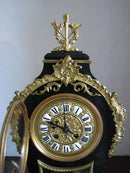 IMPRESSIVE AND DECORATIVE MANTEL CLOCK WITH PANOPLIES – ROCOCO - Vintage Clock Face