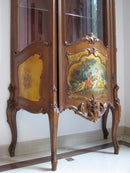 WALNUT GLASS CABINET – POLYCHROME – ROCOCO REVIVAL - Vintage Clock Face