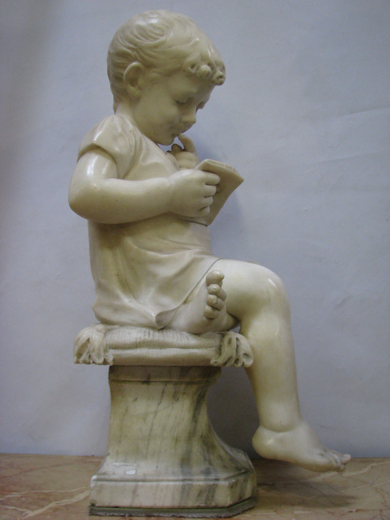 "THE ""READING BOY"", alabaster, 19th century - Vintage Clock Face"