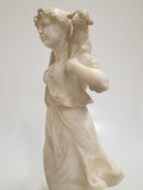 "THE ""SHEPHERDESS WITH THE LAMB"" alabaster, Signature Gabbrielli - Vintage Clock Face"