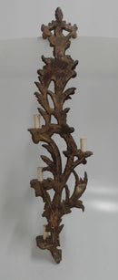 EXTRAORDINARY NEO-ROCOCO SCONCE, wood - Vintage Clock Face