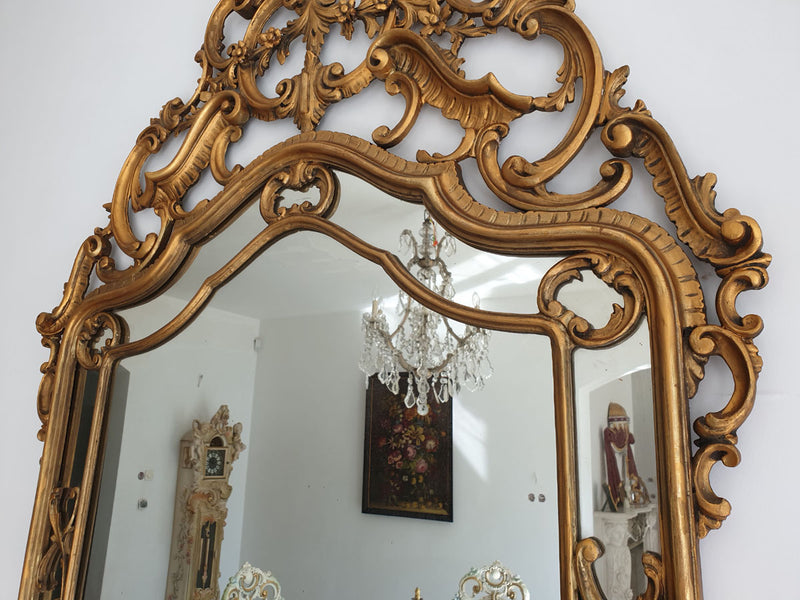 EXTRAORDINARY PALACE MIRROR NEOROCOCO - ROCAILLE 0.5 METERS ! - Vintage Clock Face