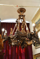 Rare Baroque Figural Chandelier Unique !!! 13 Lights - Vintage Clock Face