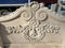 Beige Travertine Giant Garden Bench Baroque Style - Vintage Clock Face
