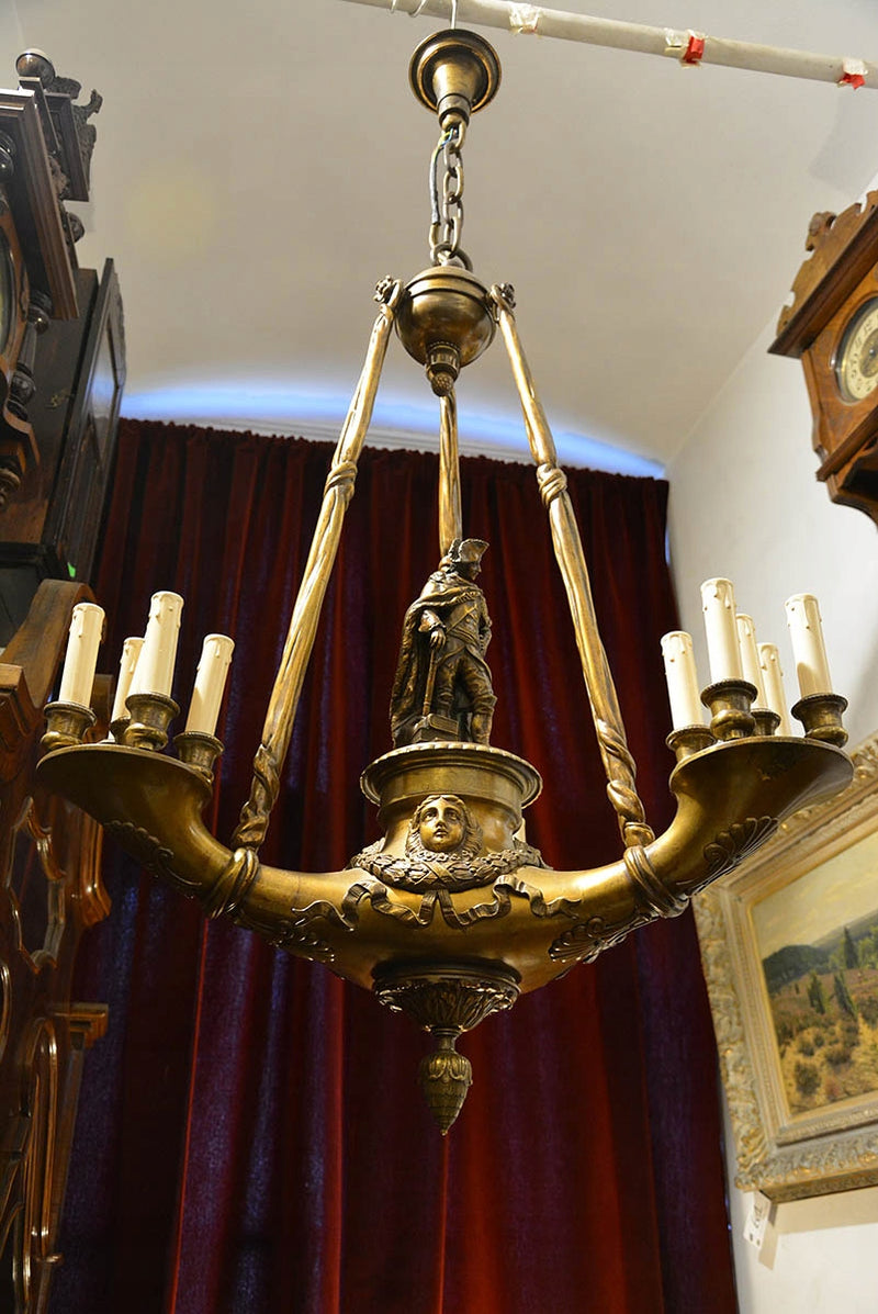 Unique Original figural chandelier bronze 19th century - Vintage Clock Face