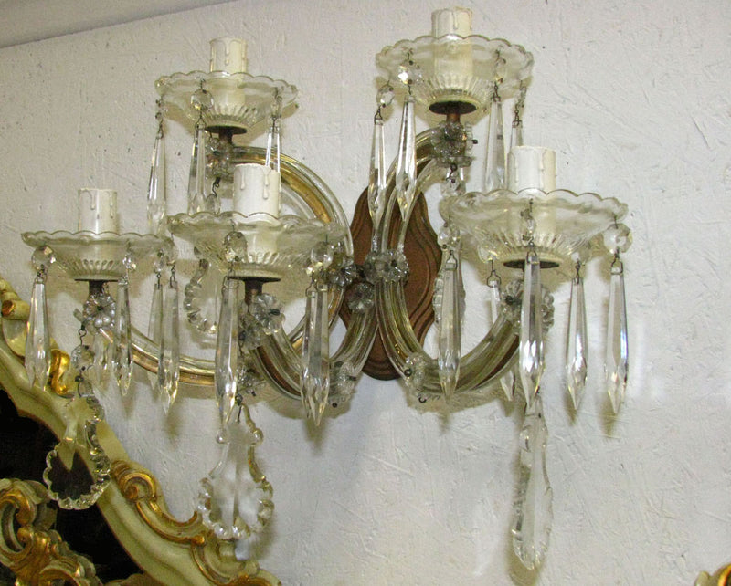 Pair of Italian Maria Theresa Crystal  Wall Sconces - Vintage Clock Face