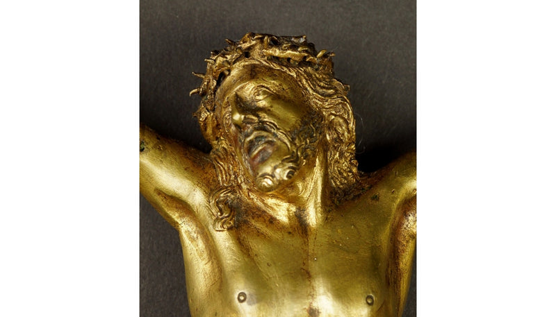 Figure of the crucified Christ BRONZE  GILDED, BAROQUE, 18TH CENTURY - Vintage Clock Face