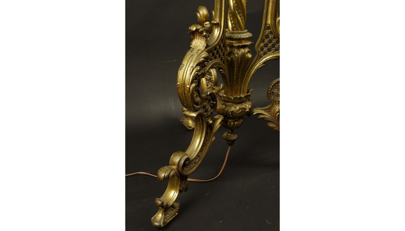 FLOOR LAMP, BRASS, NEOROCCO, 19th CENTURY - Vintage Clock Face