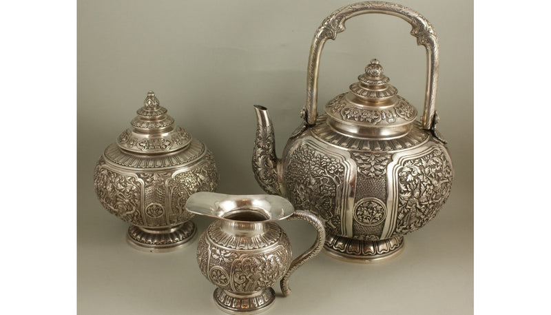Silver Tea Set Indonesia XIX / XX Century Three-Piece - Vintage Clock Face