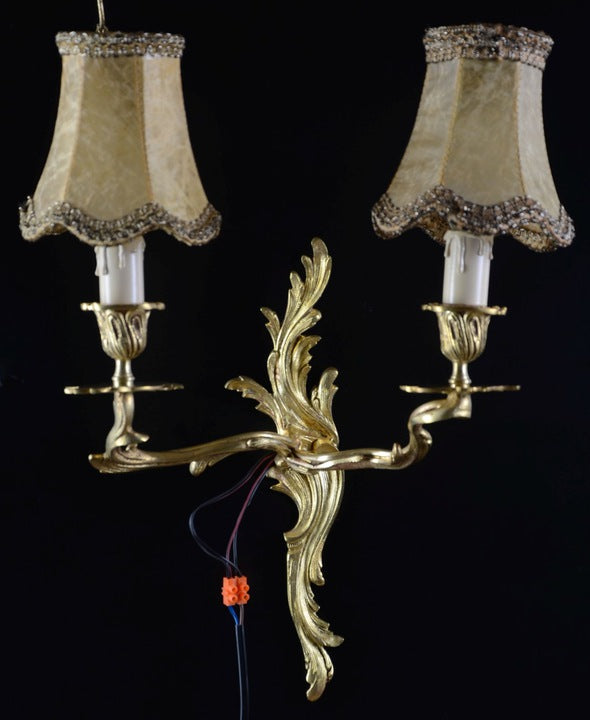 Pair Wall sconce Bronze Lamp 1940 - Vintage Clock Face