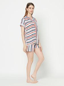 Muti Stripe Shorts Set