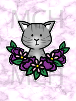 Gray Flower Cat Die cut
