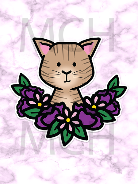 Brown Flower Cat Die cut