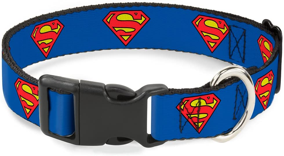 Buckle-Down Collar para Perro de clip con hebilla, Escudo de Superman Color Azul  Talla Mediana
