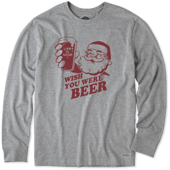 MEN'S WISH YOU WERE BEER LONG SLEEVE CRUSHER TEE