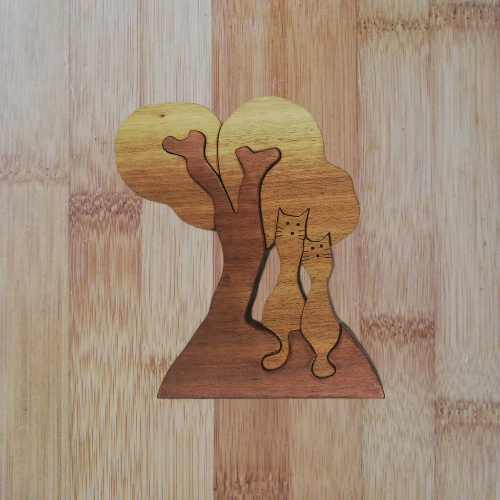 Cats Under a Tree: handmade wooden puzzle
