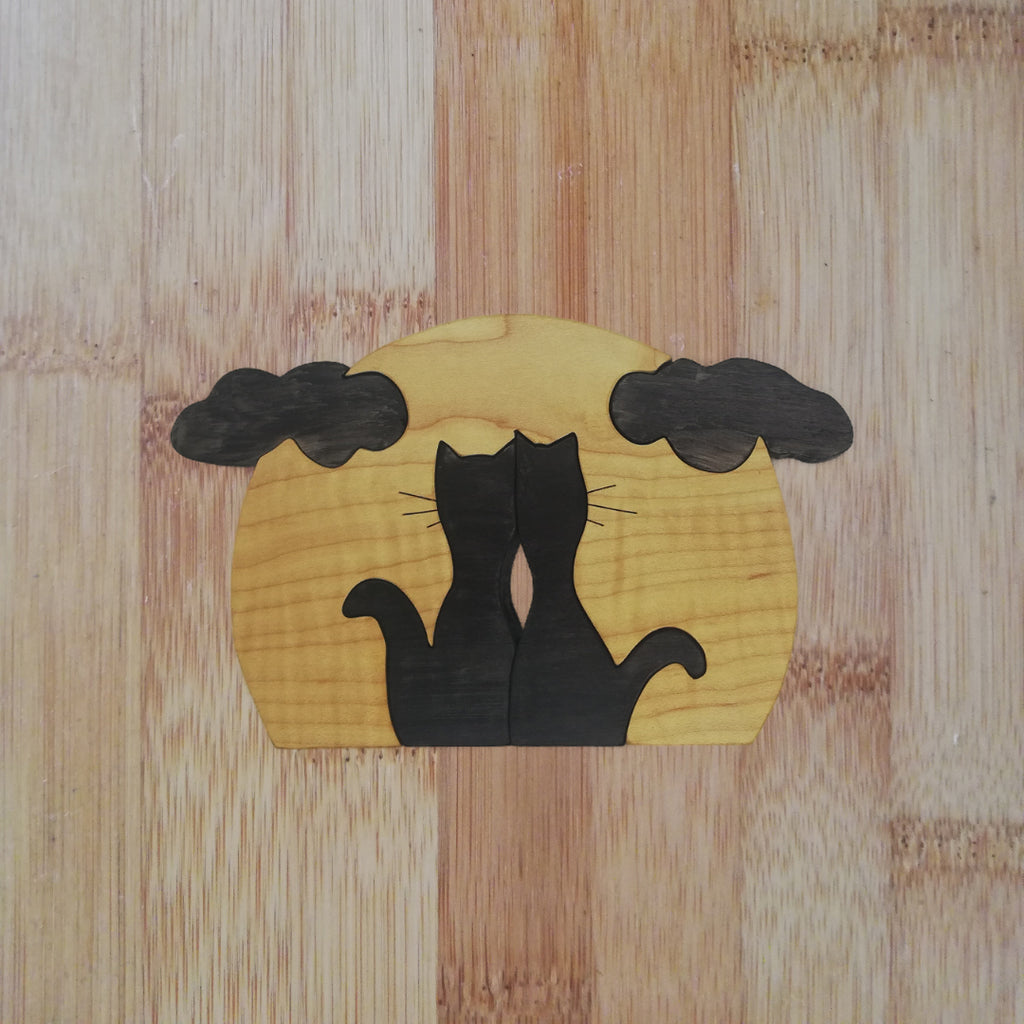 Cats Under a Moon: handmade wooden puzzle