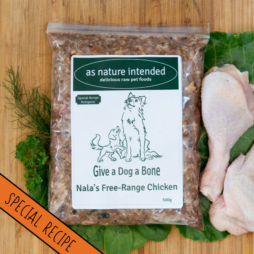 Nala's Chicken: support for dogs with cancer, diabetes, or epilepsy raw dog food
