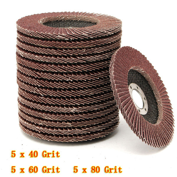 15pcs 115mm 40 60 80 Grit Sanding Flap Discs Grinding Wheels