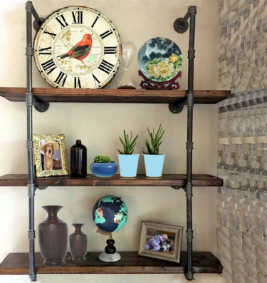 Iron Pipe Shelves Frame 2Pcs 4 Tier Industrial Pipe Shelving Wall Mounted Bracket Floating Shelf Holder