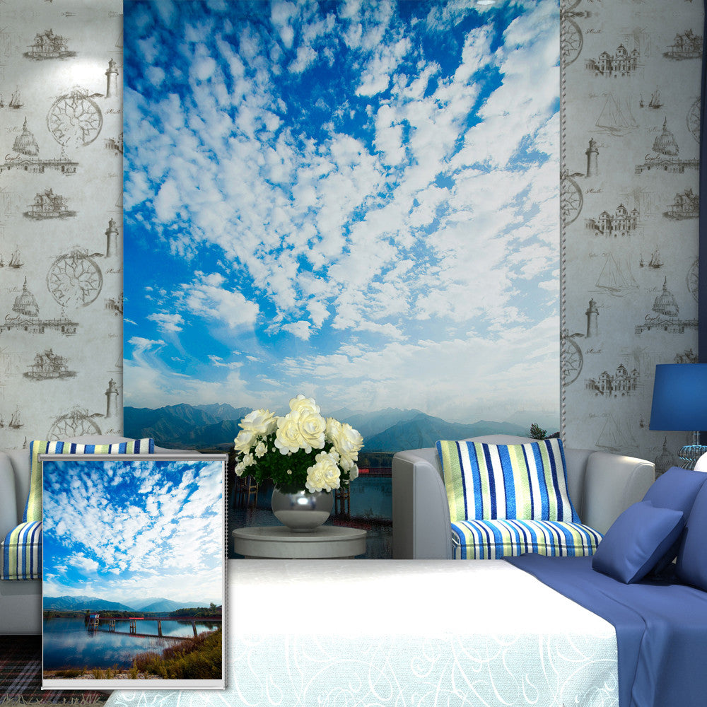 Blue Sky Roller Painting Wall Decor Curtain