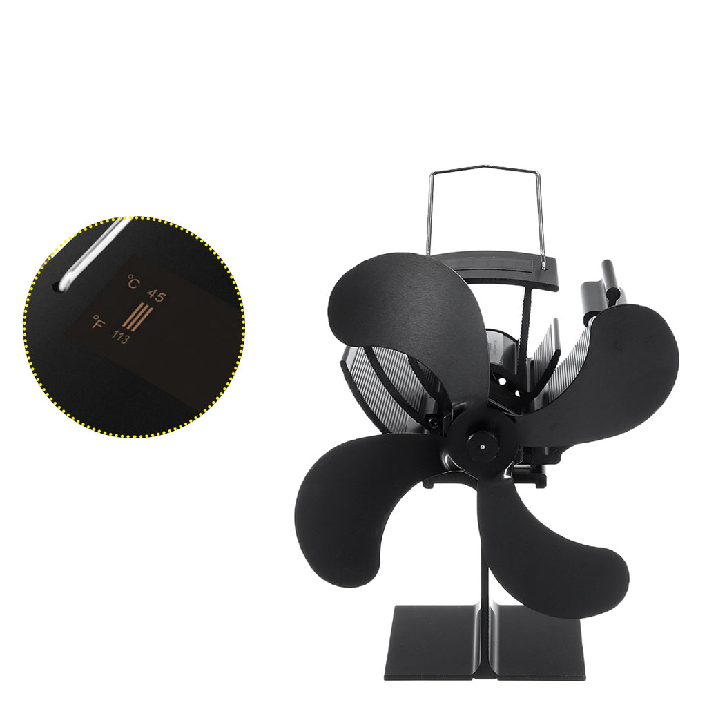 Dispaly Eco Friendly 4-Blade Heat Powered Stove Fan for Wood/Log Burner/Fireplace 203CFM Thermal Power Fan With Thermometer
