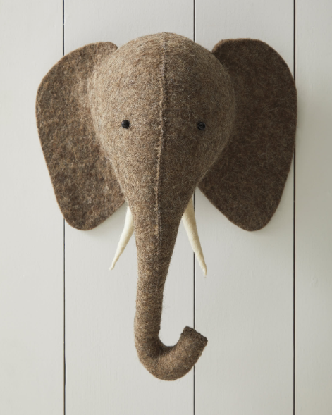 Hand Crafted Elephant Felted Wool Animal Wall Mount Display