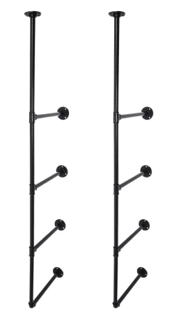 Vertical Iron Pipe Shelves  4 Tier Industrial Retro Wall Mount Iron Pipe Shelf Bracket Storage Shelving