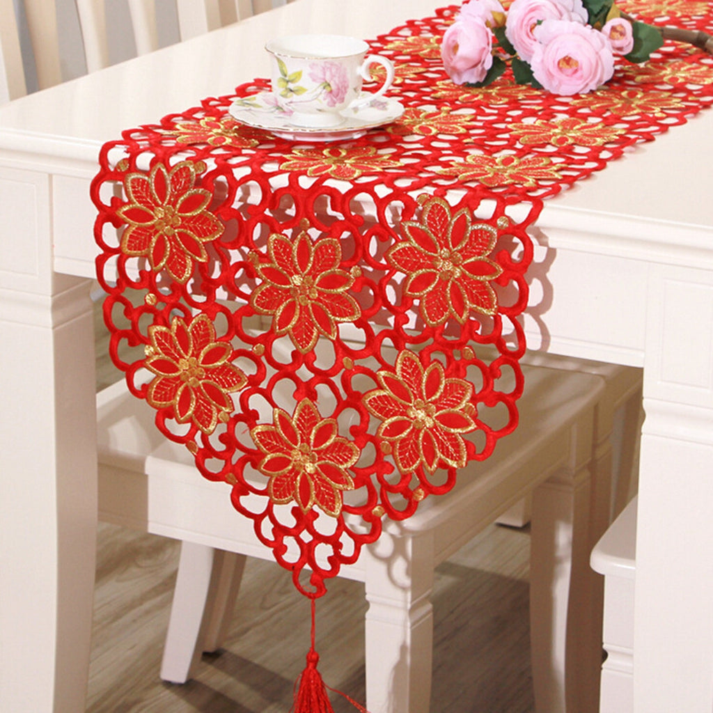 Red Flower Vintage Table Runner