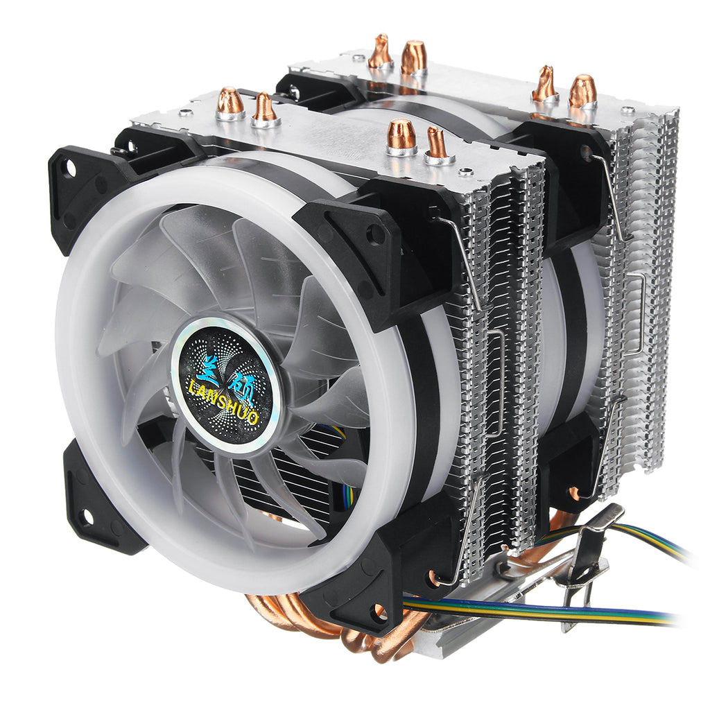 4Pin Dual Fans 4-Heatpipes Colorfule Backlit CPU Cooling Fan Cooler Heatsink For Intel AMD