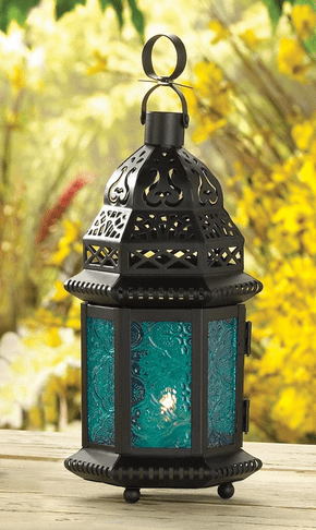 Hanging Blue Candle Lantern