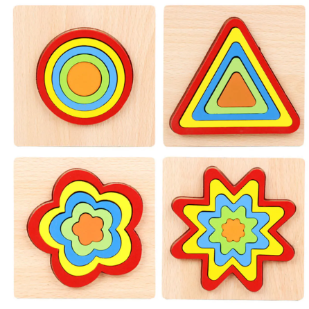 Shapelearner™ 7 Piece Shape Wooden Jigsaw Puzzle Wooden Kids Educational Learning Toys