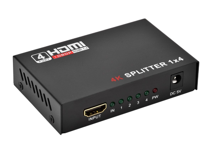 1 in 4 out Full HD HDMI Splitter 4 Port Hub Repeater Amplifier v1.4 3D 4K 1080p