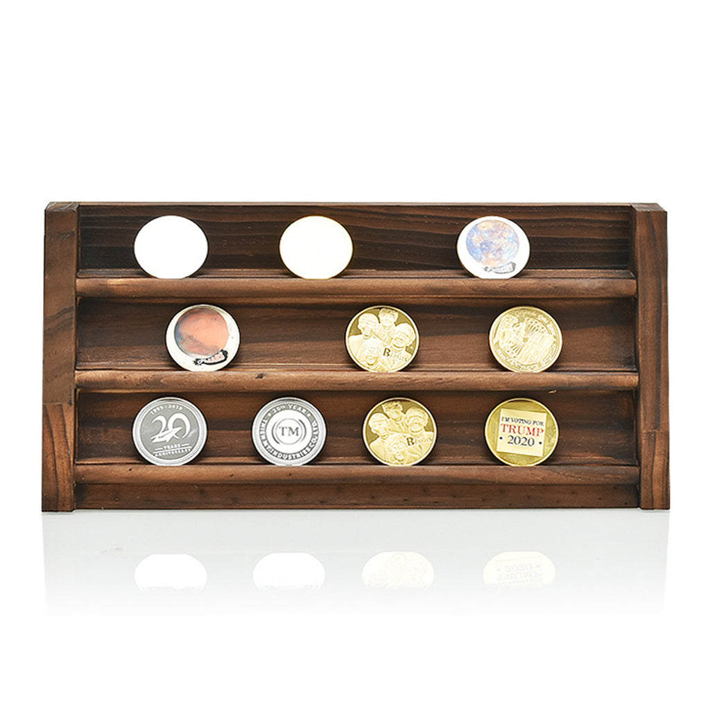 Wooden Collectible Coin Holder Display