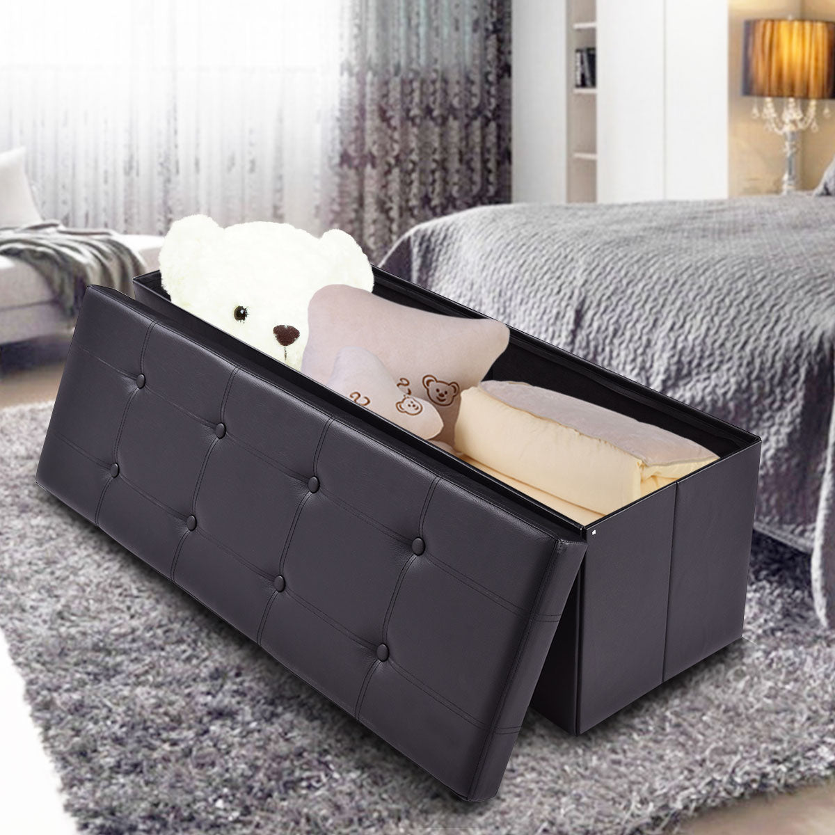 Large Folding Storage Faux Leather Ottoman Pouffe Box Stool Black