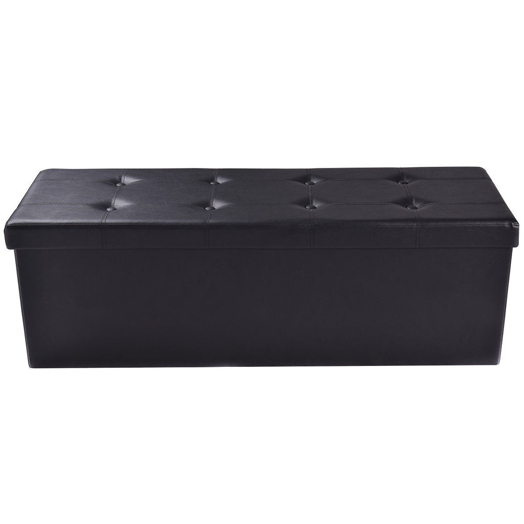 Costway 45''x15''x15'' Large Folding Storage Faux Leather Ottoman Pouffe Box Stool Black