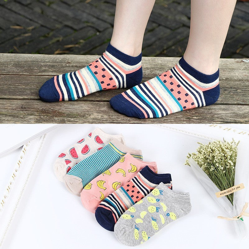 Colorful fruit Invisible Short Woman Sweat summer comfortable cotton girl women's boat socks ankle low female 1pair=2pcs ws194