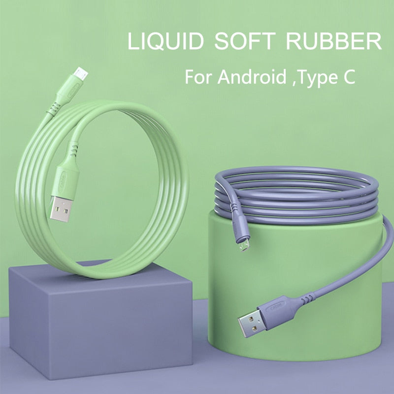 HICUTE Liquid charge Cable For Samsung Android Fast Charging Magnet Charger Micro USB Type C Cable Mobile Phone Cord Wire