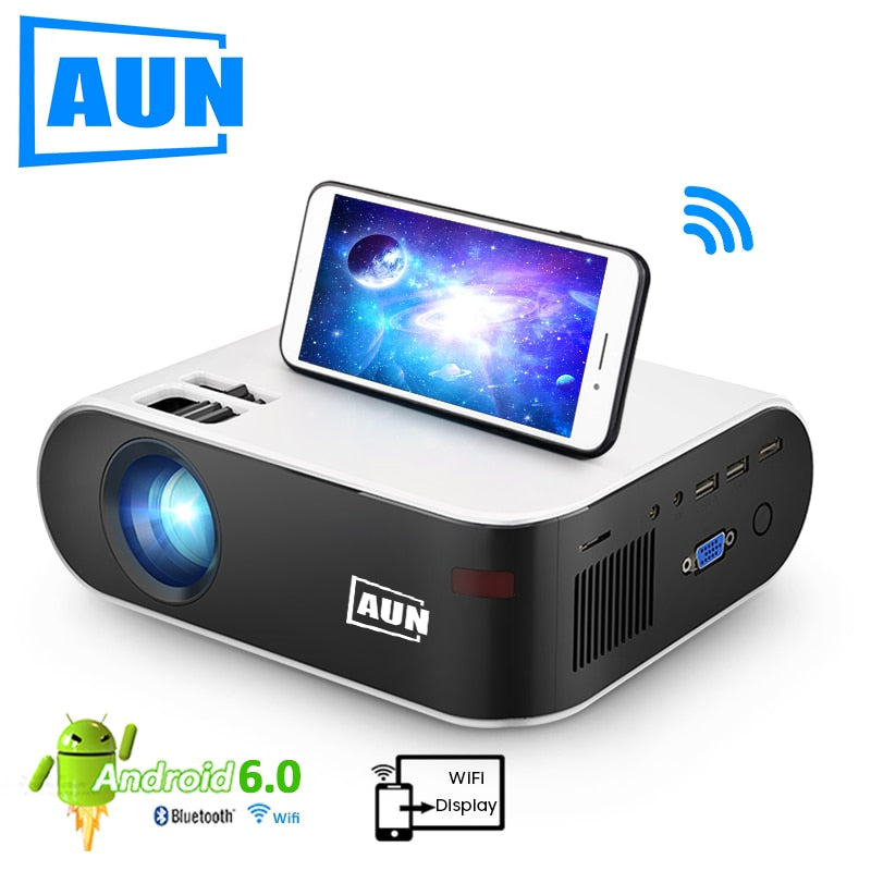 AUN MINI Projector W18, 2800 Lumens (Optional Android 6.0 wifi W18D), support Full HD 1080P LED Projector 3D Home Theater